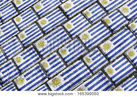 Uruguay Flag Urban Grunge Pattern