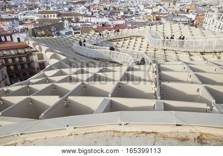 Seville Spain - January 2 2017: Seville cityscape from the roof footbridge for pedestrians at Metropol Parasol building Seville Spain