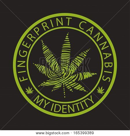 Illustration of cannabis as a fingerprint identity on a black background.