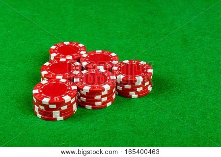 Stack of betting chips on a card table