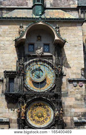 Astronomical clock in old town square. Prague Czech Republic.