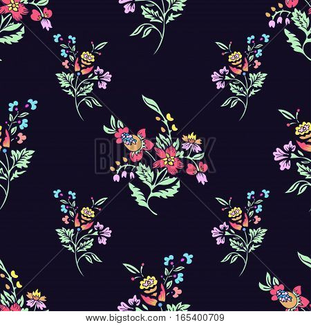 Abstract flowers seamless pattern, floral background. Fantasy bright multicolored flowers on a dark blue backdrop. For the design of the fabric, wallpaper, wrapper, prints, decoration