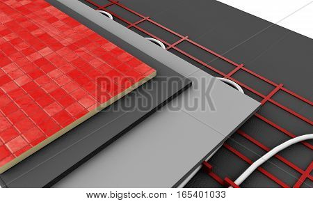 Heated floor isolated on white 3d render