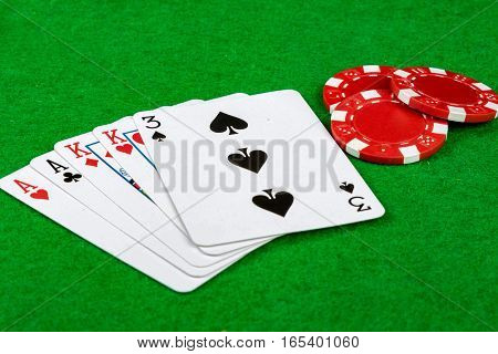 Two pair of kings and aces with betting chips