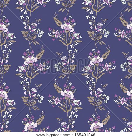 Abstract flowers seamless pattern, floral vector background. Fantasy multicolored flowers in pastel tones on a purple backdrop. For the design of the fabric, wallpaper, wrapper, prints, decoration