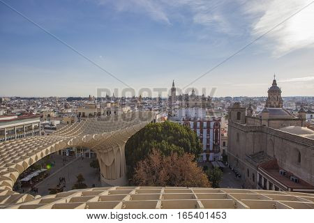 Seville Spain - January 2 2017: Space Metropol Parasol (Setas de Sevilla) one have the best view of the city of Seville Spain. It provides a unique view of the old city center and the cathedral