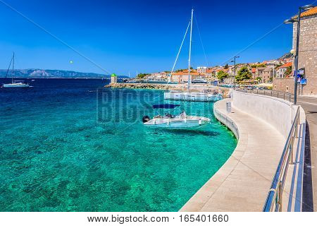 View at summer scenery in old Adriatic place Bol, Island Brac, croatian travel places. poster