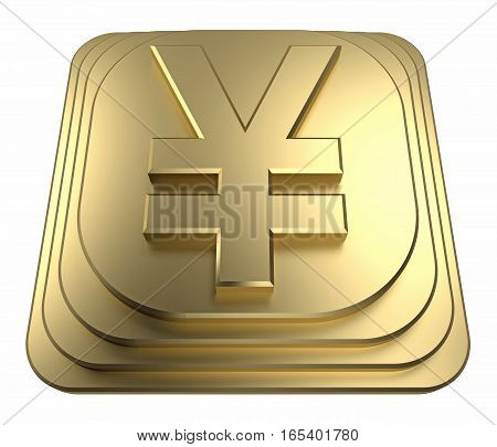 gold yen symbol on a pedestal. 3d rendering