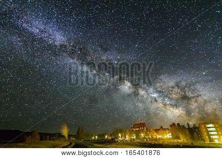 Milky Way Over Old Faithful, Yellowstone National Park