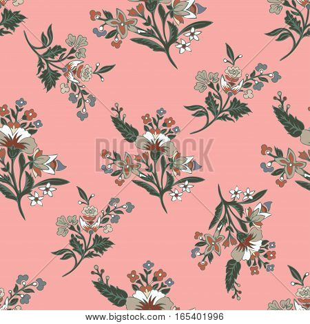 Abstract flowers seamless pattern, floral background. Fantasy multicolored flowers on a pink backdrop. For the design of the fabric, wallpaper, wrapper, prints, decoration. Vintage vector illustration