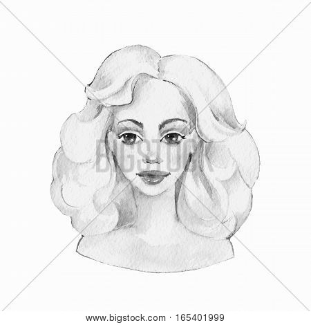 Blondie. Black and white watercolor illustration. Female face.