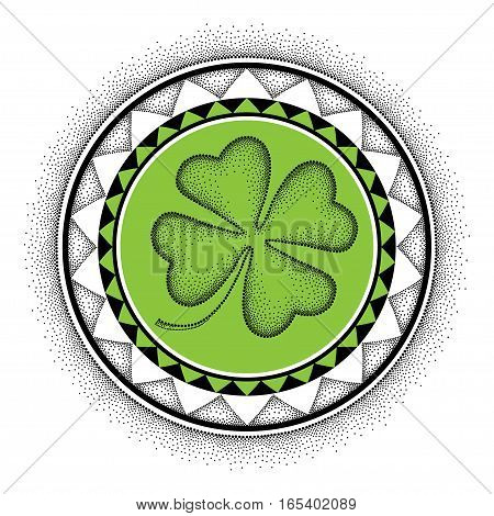 Vector illustration with dotted lucky four leaf clover or shamrock and round mandala in black and green isolated on white background. Symbol for St. Patrick day in dotwork style for floral design.
