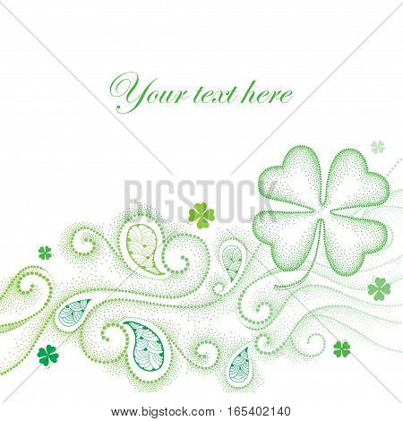 Vector abstract background with dotted lucky four leaf clover or shamrock, swirls and curly lines in green isolated on white background. Traditional symbol for St. Patrick day in dotwork style.