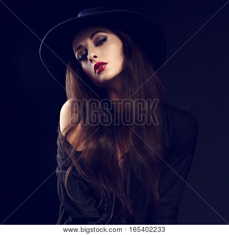 Sexy Female Model Posing In Black Shirt And Elegant Hat With Red Bright Lipstick And Long Hairstyle