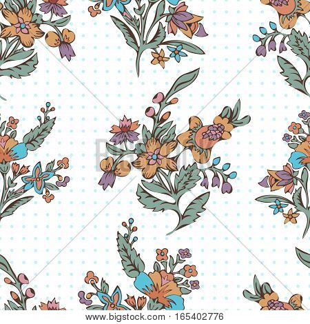 Abstract flowers seamless pattern, floral vector background. Fantasy multicolored flowers and polka dot. For the design of the fabric, wallpaper, wrapper, prints, decoration