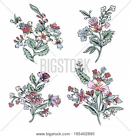 Abstract flower set, fantasy colorful blossom, doodle plants. For the design of prints, fabrics, tattoo. Vector illustration