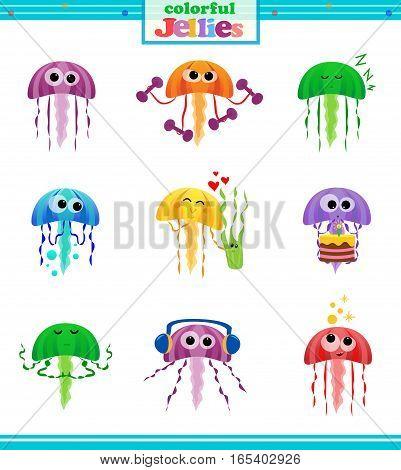 Set of nine colorful jellyfish icons. Eps10