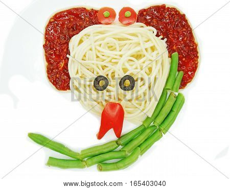 creative vegetable food meal with spaghetti snake form