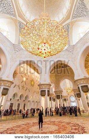 Abu Dhabi, UAE - Jan 30: Magnificent interior of Sheikh Zayed Grand Mosque on January 30th 2016 in Abu Dhabi. It is the largest mosque in UAE and the eighth largest mosque in the world.