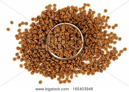Pet Food Into The Bowl For Feeding And Dropped Dog Feed