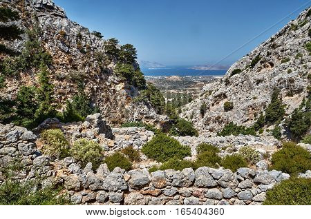 Rocks and stone ruins on the island of Kos in Greece