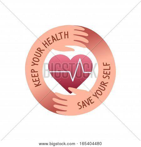 health care logo design, hands hug the heart symbol. round shape icon