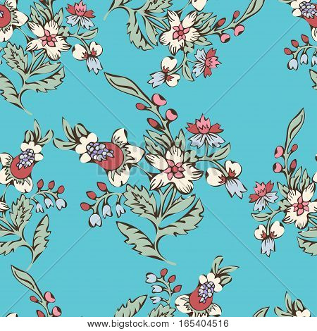 Abstract flowers seamless pattern, floral background. Fantasy multicolored flowers on a blue backdrop. For the design of the fabric, wallpaper, prints. Vector illustration in style of boho
