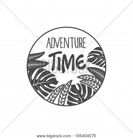adventure time emblem, vector illustration isolated on white background.