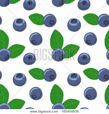 Blueberry vector seamless pattern. Natural fresh ripe tasty blueberries with green leaves on white. Seamless background.  Vector illustration, eps. For backgrounds, packaging, textile and various other designs.