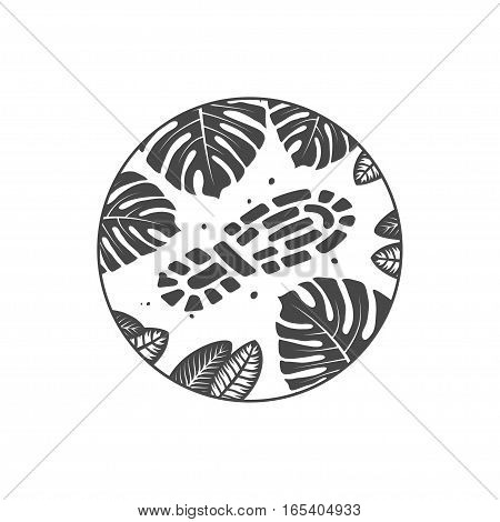 adventure theme emblem, boot print on jungle ground, illustration on a white background