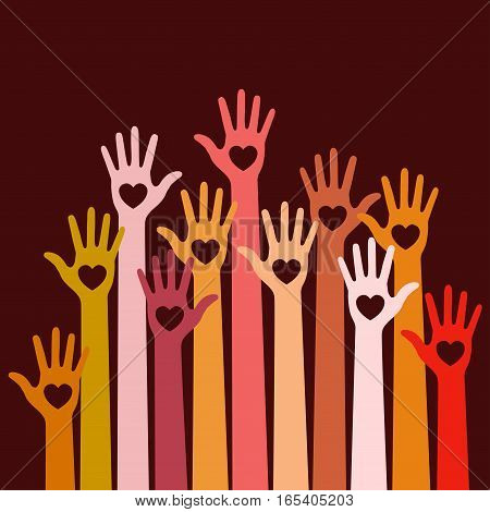 Warm  colors bright colorful caring up hands hearts vector logo design element on dark red background. Volunteers hands up with heart emblem icon for education, health care, medical, volunteer, vote.