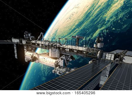 International Space Station Orbiting Planet Earth. 3D Illustration.