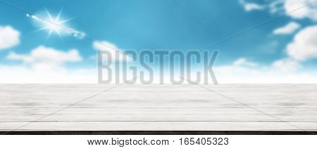 Panorama Of Modern Wooden Tabletop With Blurry Cloudscape Summer Season Clear Sky Weather Fresh Air