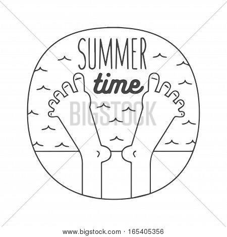 relaxed feet on a beach, vector illustrtion logo