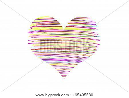 Abstract heart with bright colorful strokes pattern on white background