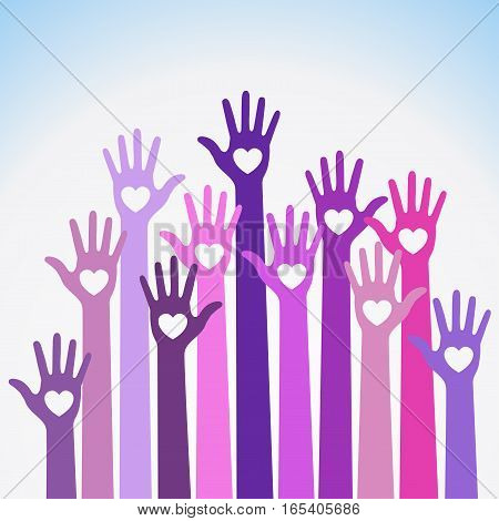 Bright red blue violet colorful caring up hands hearts vector logo design element. Volunteers hands up with heart emblem icon for education, health care, medical, volunteer, vote.