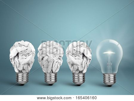 Bulb with crumpled paper idea creative concept