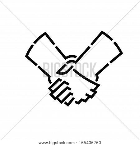 handshakes stencil logo, isolated vector design art