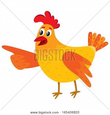 Funny cartoon red and orange chicken, hen pointing to something with wing, cartoon vector illustration isolated on white background. Cute and funny colorful chicken looking and pointing to something
