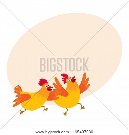 Two funny cartoon orange chickens, hens rushing, hurrying somewhere, jumping excitedly, vector on background with place for text. Cute and funny chickens running somewhere enthusiastically