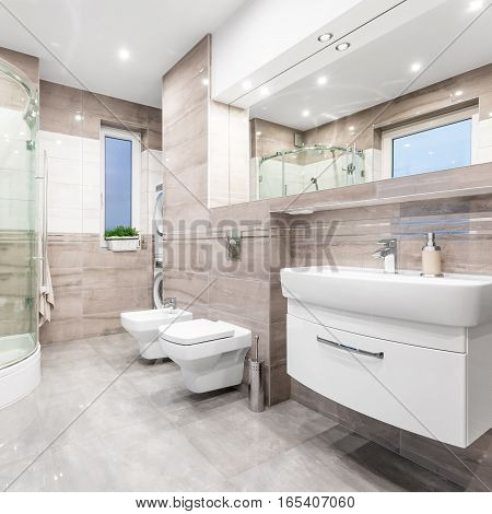 Functional Bathroom In Beige