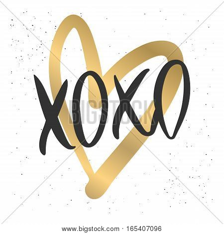 Romantic decorative poster with handdrawn lettering. Modern ink calligraphy. Handwritten black phrase XOXO and gold heart on white. Trendy vector design for Valentines Day or wedding