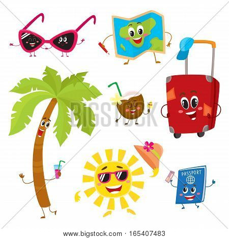 Attributes of summer vacation, travel to tropic countries as funny characters, cartoon vector illustration isolated on white background. Smiling sun, palm, suitcase, sunglasses, map, passport, coconut