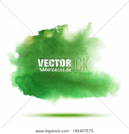 Bright green - yellow transparent spring watercolor vector smear stain isolated on white background with realistic paper watercolor texture. Blur  Aquarelle green brushstroke wash drawing spot