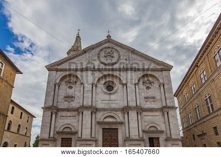 View at old church in Pienza Italy