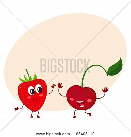 Cute and funny comic style garden strawberry and cherry characters, cartoon vector illustration on background with place for text. Red and ripe strawberry and cherry characters, mascots with big eyes