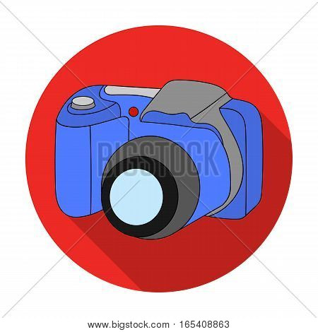 Digital camera icon in flat design isolated on white background. Family holiday symbol stock vector illustration.