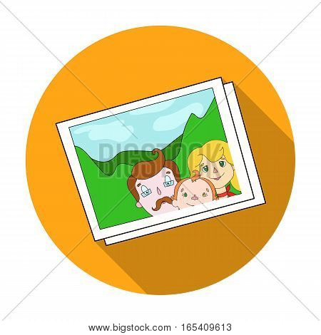 Family photo portrait icon in flat design isolated on white background. Family holiday symbol stock vector illustration.