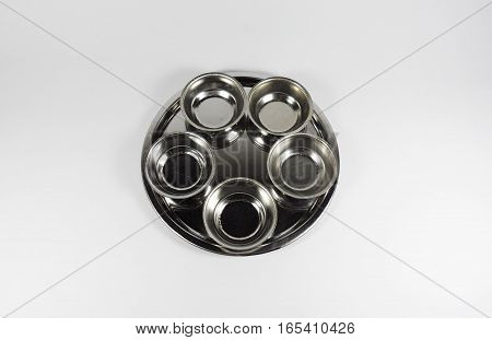 A metallic tray with copper plated,tray with mini cup on white background