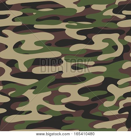 Camouflage pattern background. Woodland style. Military fashion green vector seamless pattern